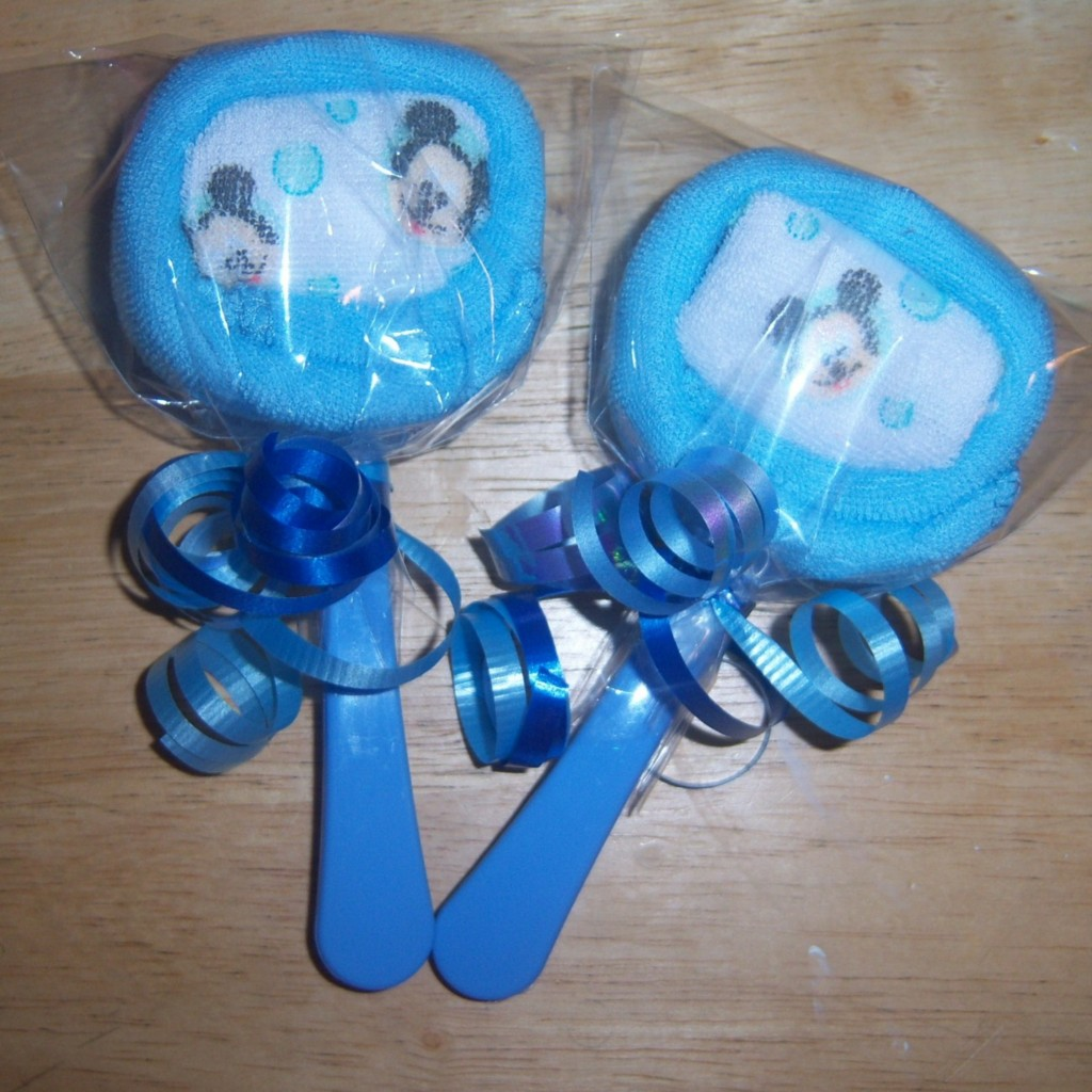mickey mouse minnie or pluto washcloth lollipops baby shower party