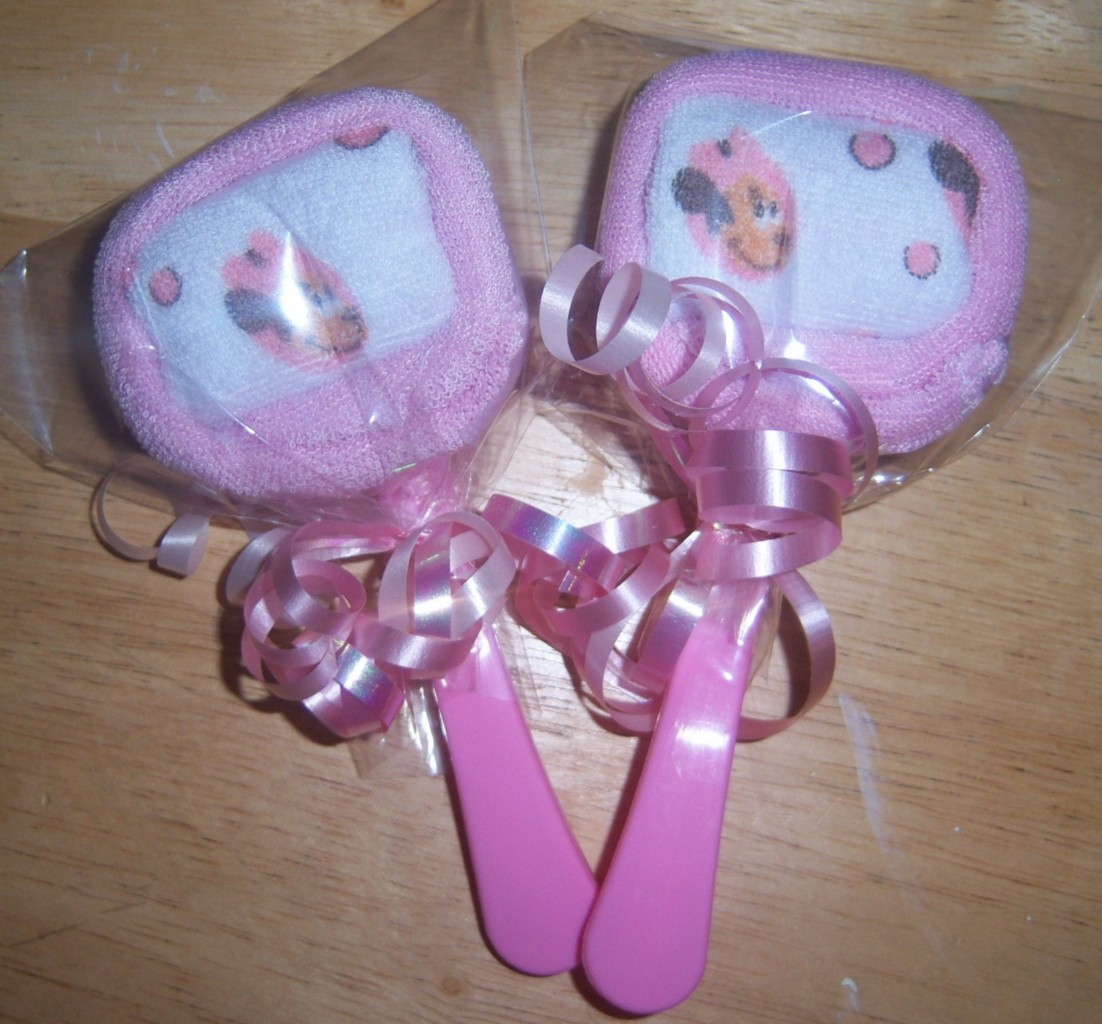 mouse minnie or pluto washcloth lollipops baby shower party favor