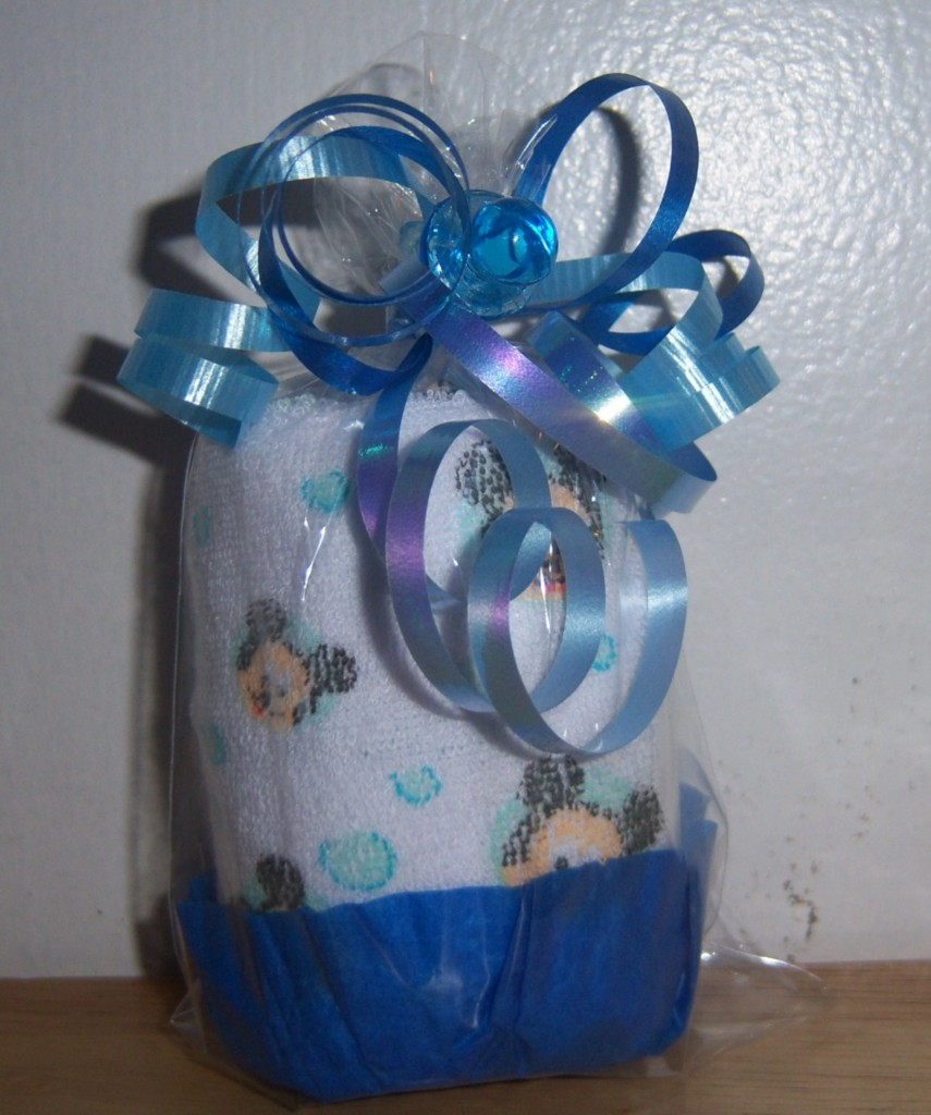 mickey mouse minnie or pluto washcloth cupcake baby shower favor