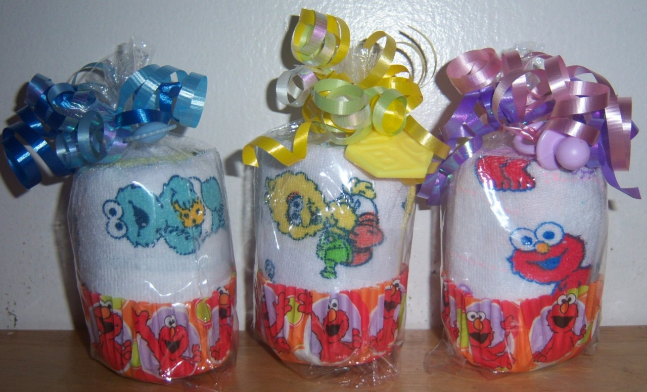 sesame street washcloth cupcake baby shower favor elmo cookie monster