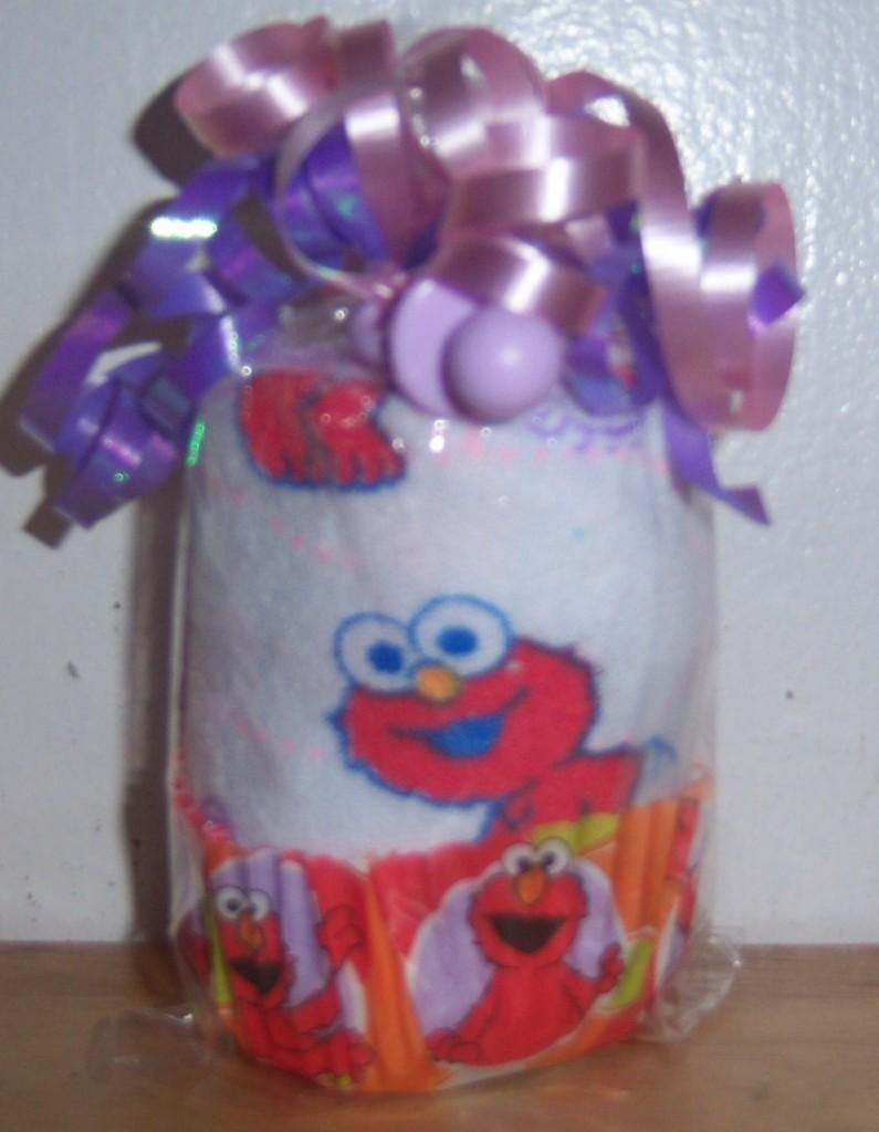 sesame street washcloth cupcake baby shower favor elmo cookie monster