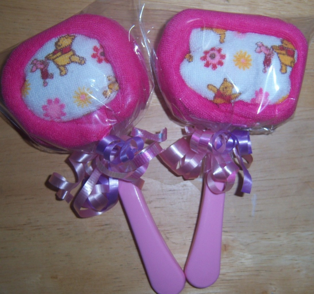about 2 winnie the pooh washcloth lollipops baby shower party favor