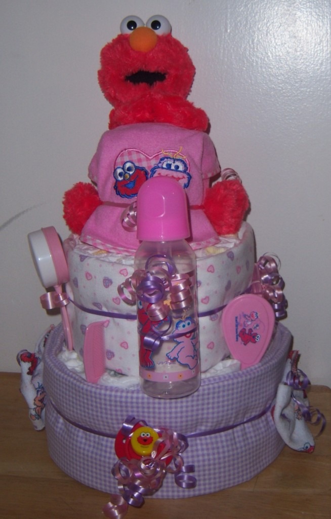Baby shower 3 tier sesame street diaper cake elmo big bird cookie monster ebay - Sesame street baby shower ...