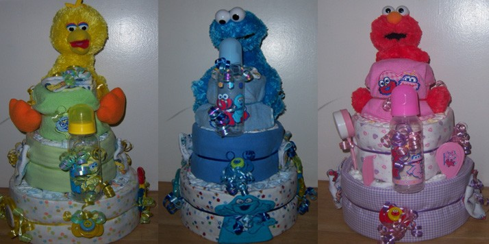 Baby shower 3 tier sesame street diaper cake elmo big bird cookie monster - Sesame street baby shower ...
