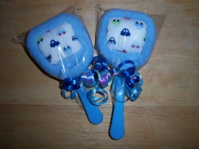 2 Gerber Car Washcloth Lollipops Baby Shower Party Favor Diaper Cake