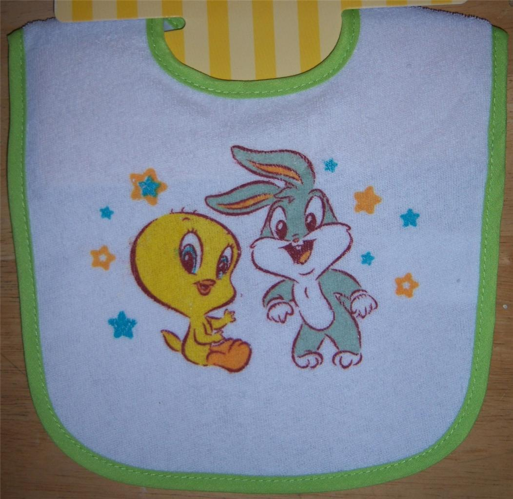 New baby looney tunes bib baby bugs bunny baby tweety for Baby looney tune decoration
