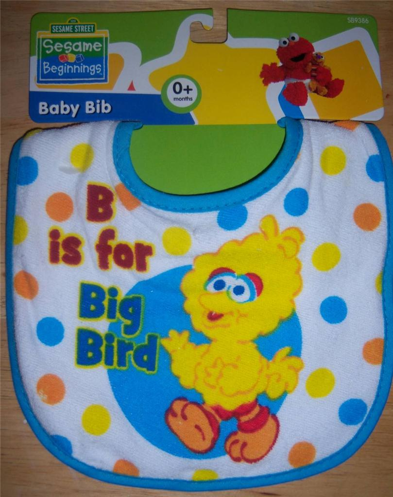 New Baby Shower Sesame Street Terry Bib, Elmo, Cookie Monster, Big Bird