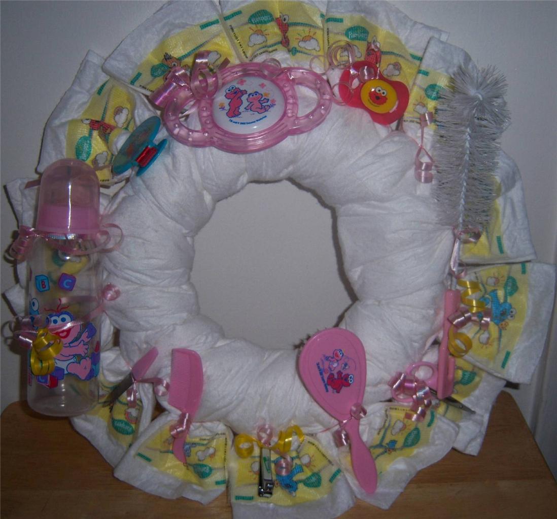 Baby shower sesame street diaper wreath blue pink or neutral - Sesame street baby shower ...