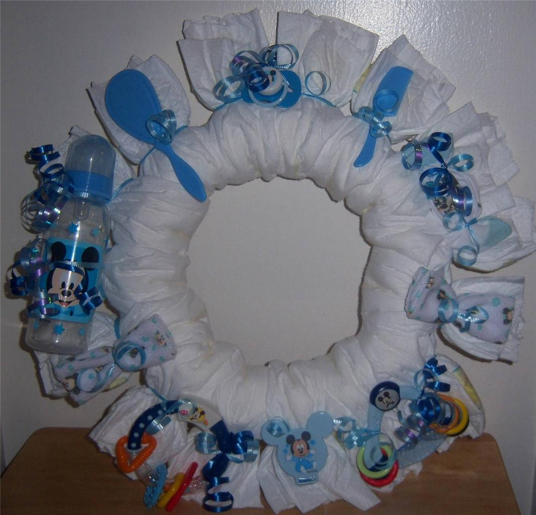 Baby Shower Mickey Mouse Or Minnie Diaper Wreath EBay