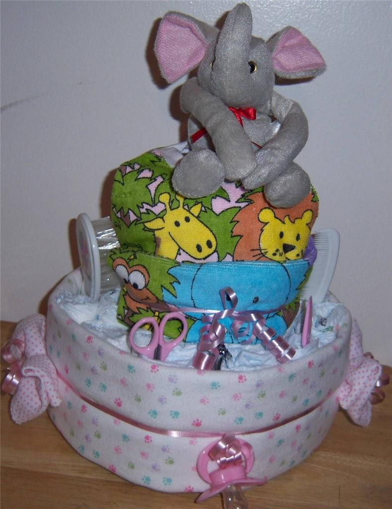 details about baby shower 2 tier safari diaper cake pink blue or