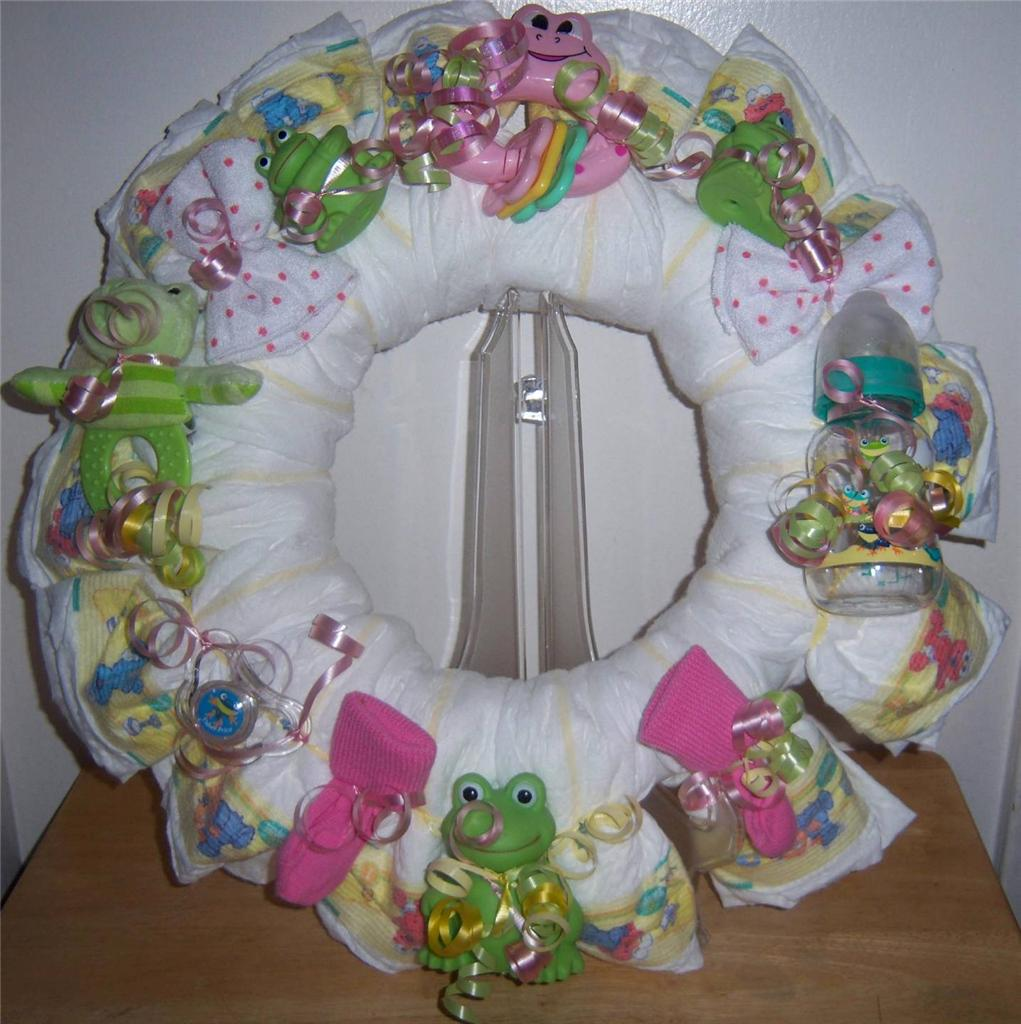 details about baby shower frog diaper wreath