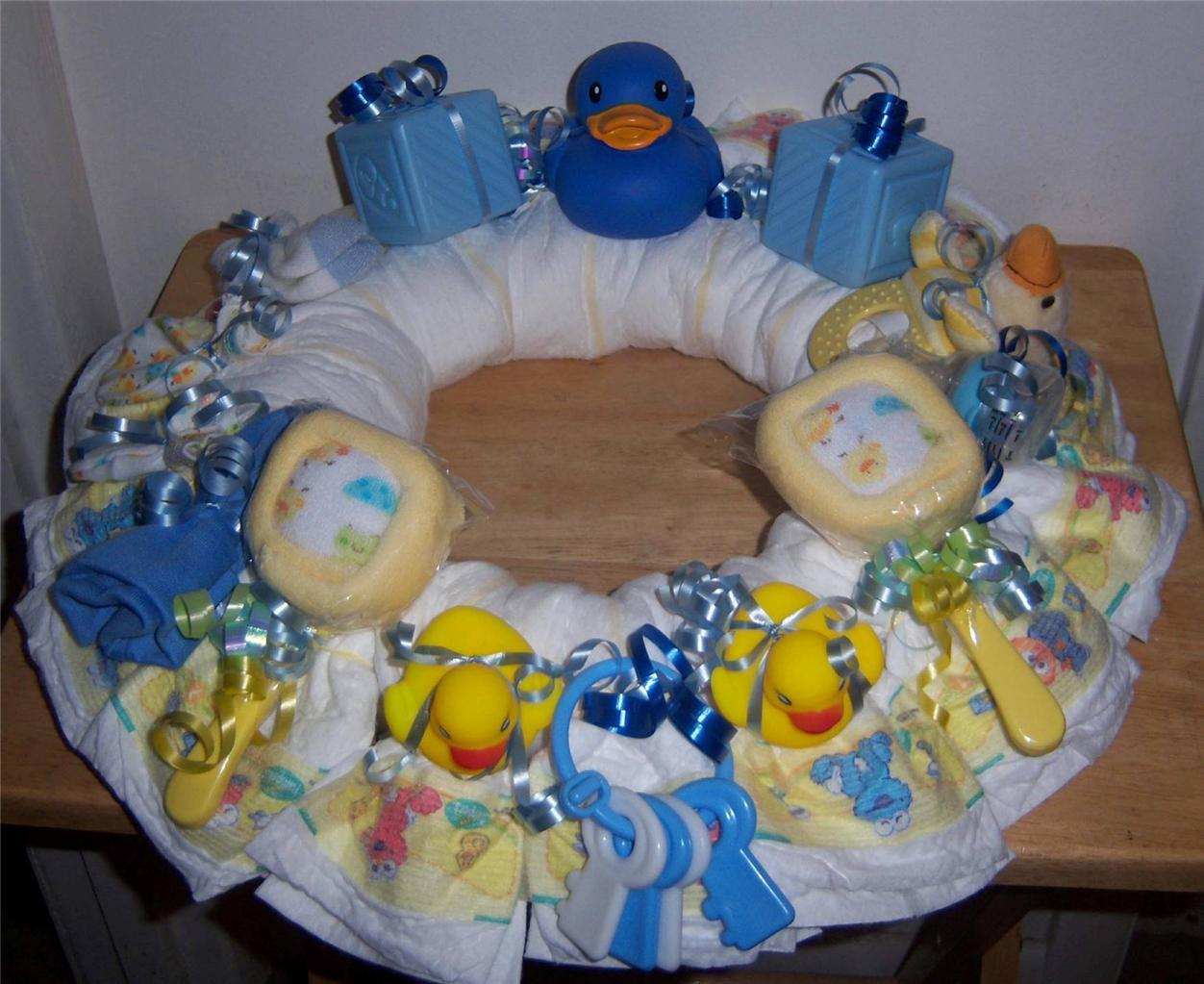 details about baby shower duck diaper wreath pink blue or neutral