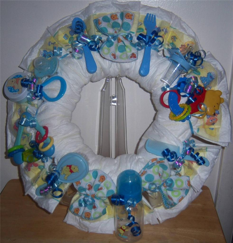 details about baby shower winnie the pooh diaper wreath