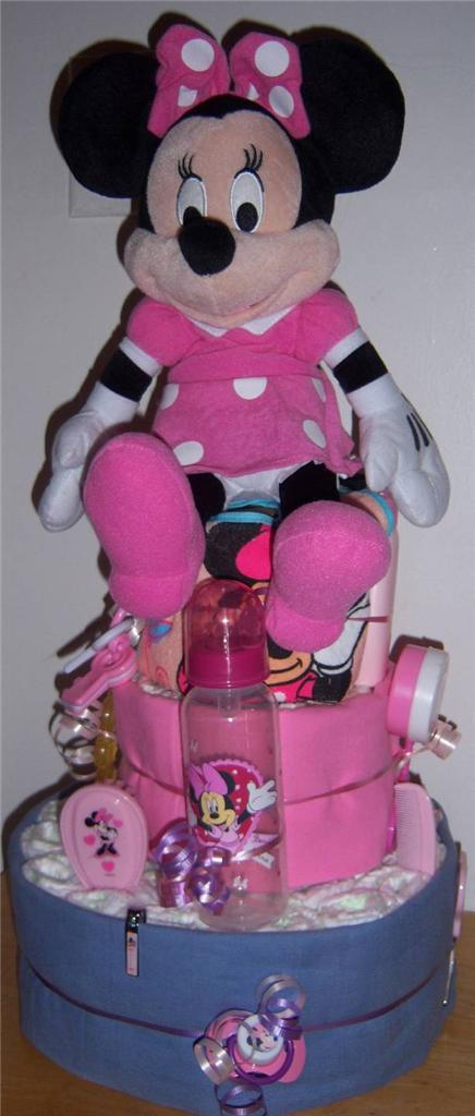 Baby Shower 3 Tier Mickey Mouse Or Minnie Mouse Diaper Cake Ebay