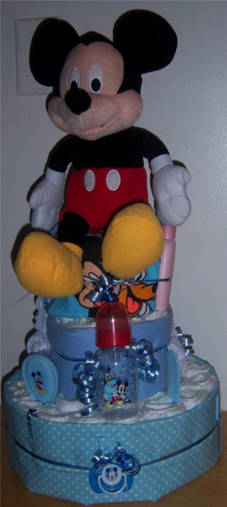 about baby shower 3 tier mickey mouse or minnie mouse diaper cake