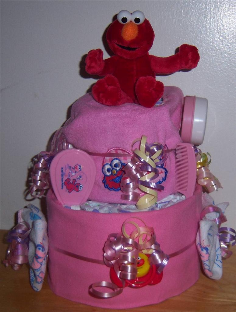 baby shower 2 tier sesame street diaper cake elmo cookie monster big