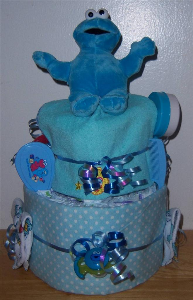 Baby shower 2 tier sesame street diaper cake elmo cookie monster big bird ebay - Sesame street baby shower ...