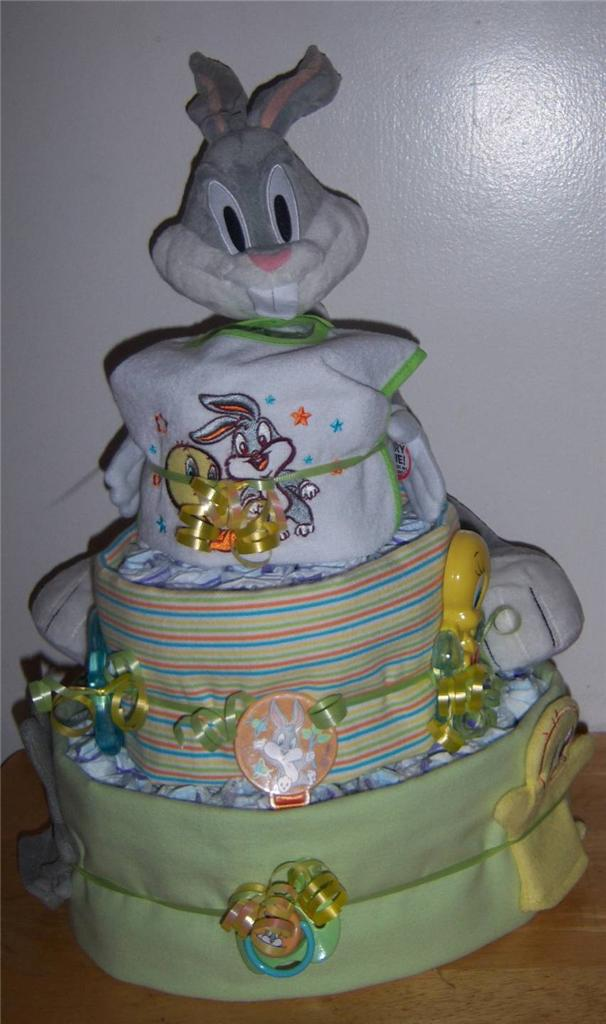 details about baby shower 3 tier looney tunes diaper cake taz tweety