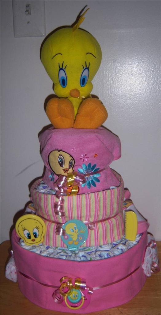 Baby Shower 3 Tier Looney Tunes Diaper Cake