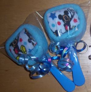 mouse or mickey mouse washcloth lollipops baby shower party favor