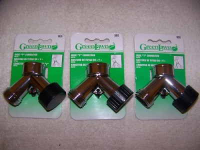 LOT OF 3 NEW METAL GARDEN HOSE Y CONNECTORS MADE BY GREENLAWN
