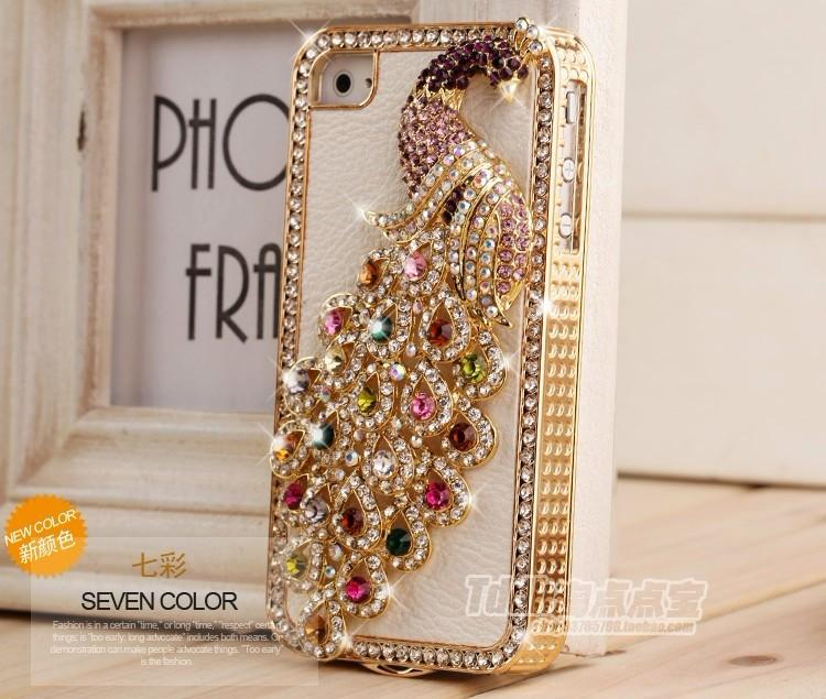 Top-Deluxe-3D-Rhinestone-Crystal-With-Leather-Back-Peacock-Case-For-IPhone4-4S-C