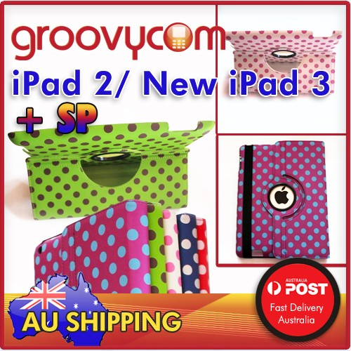ipad 2 new ipad 3 polka dotted 360 leather case