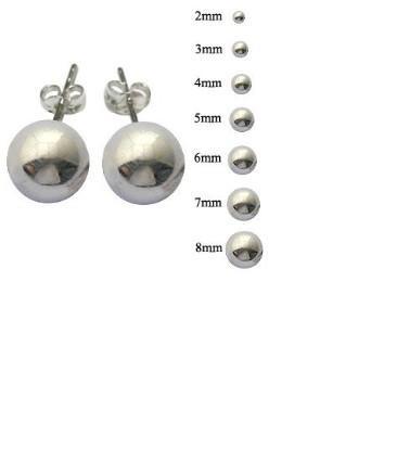sterling silver post stud earrings 1mm 2mm 3mm 4mm