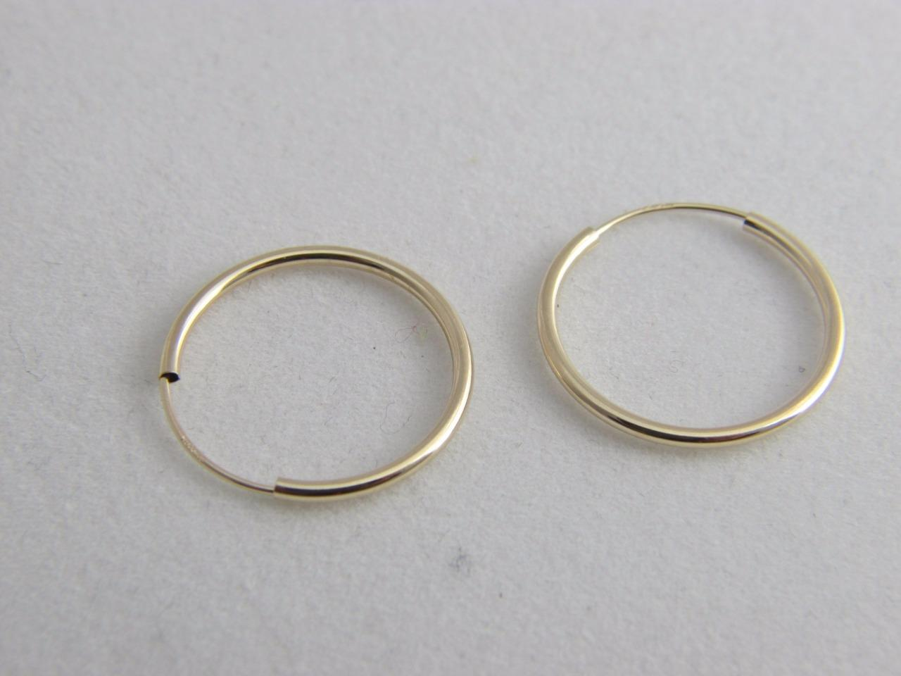 real 14k gold hoop earrings endless hoops 12mm 18mm 40mm. Black Bedroom Furniture Sets. Home Design Ideas