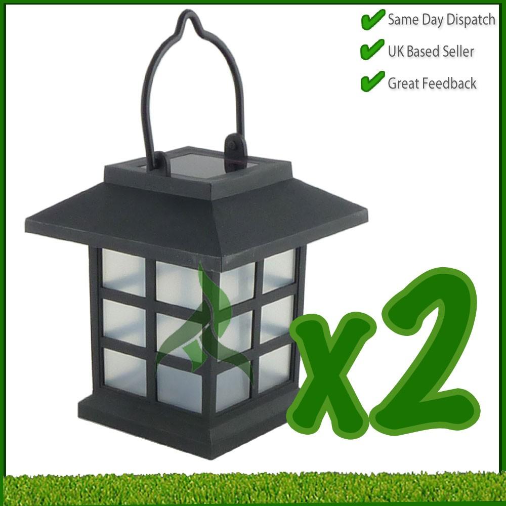 2 x solar hanging lanterns garden patio party lighting. Black Bedroom Furniture Sets. Home Design Ideas