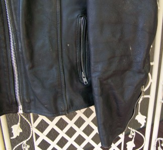 leather MOTORCYCLE BIKER JACKET, 50s or 60s , size 44 w/ GUN POCKETS