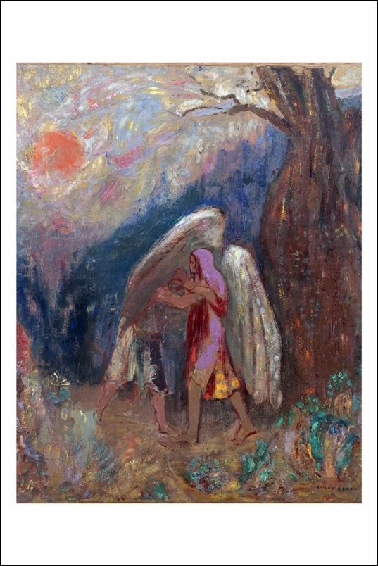 Poster affiche peinture odilon redon jacob et l 39 ange neuf - Poster peinture ...