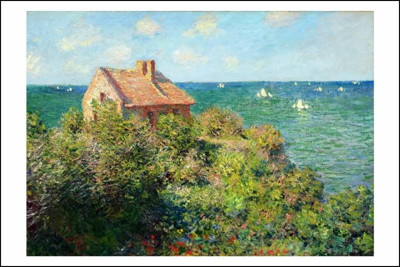 Poster/Affiche. Peinture. Claude Monet. Maison bord de mer ...