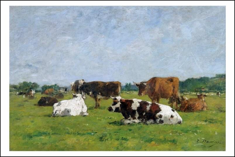 Poster affiche peinture eug ne boudin vaches au for Poster contemporain