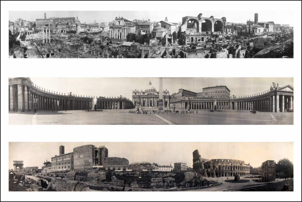 poster affiche 3 photos panoramiques de rome en 1909 noir et blanc neuf ebay. Black Bedroom Furniture Sets. Home Design Ideas