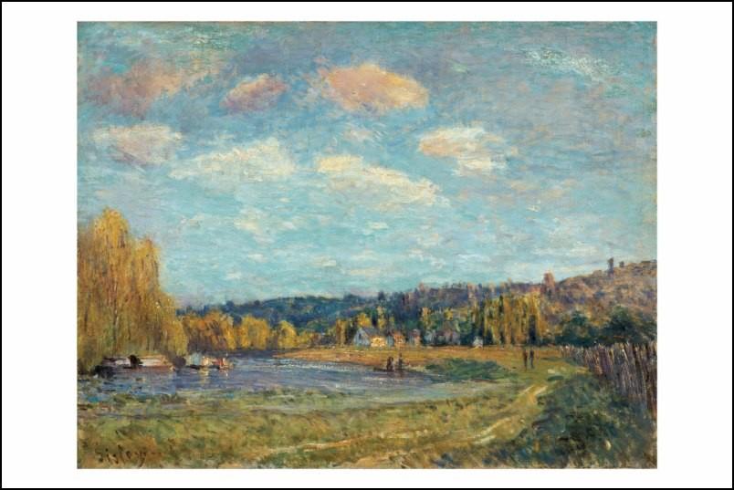 Poster affiche peinture alfred sisley paysage au bord de l - Poster peinture ...