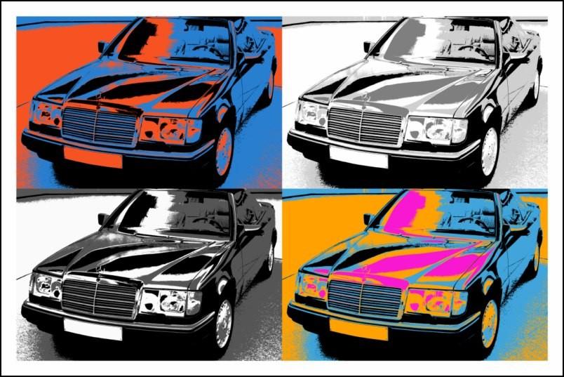 poster affiche pop art voiture mercedes ancienne style warhol neuf ebay. Black Bedroom Furniture Sets. Home Design Ideas