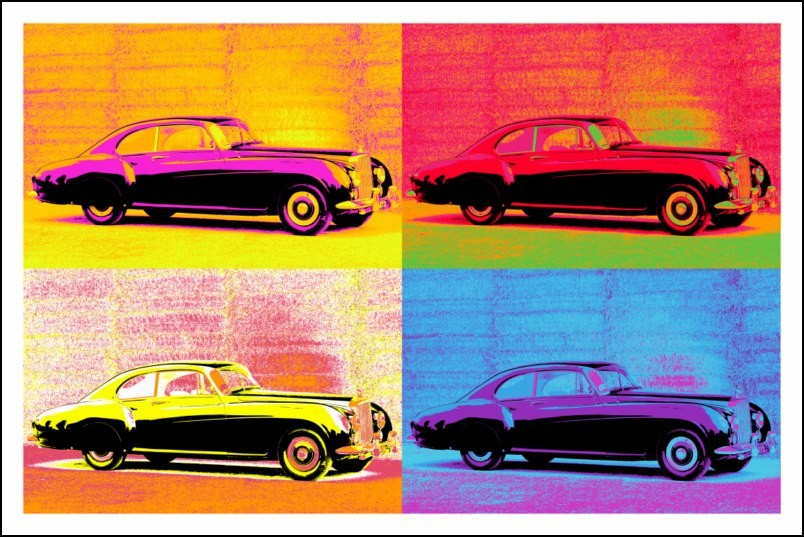 Poster affiche pop art voiture rolls royce ancienne style for Poster contemporain