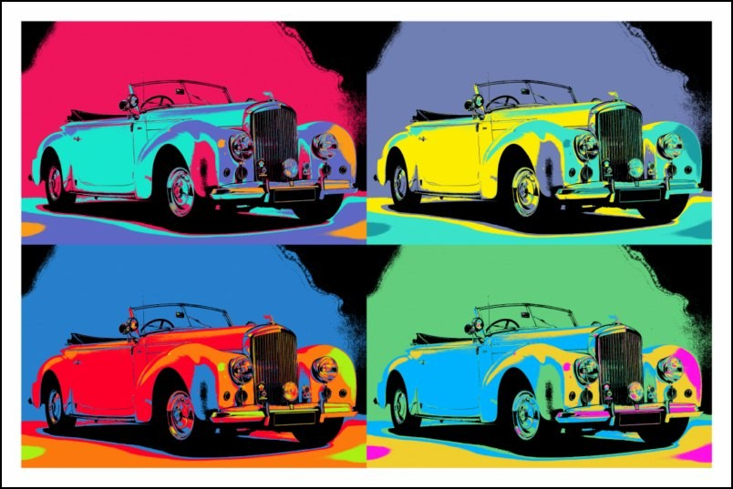 poster affiche pop art voiture rolls royce ancienne style warhol neuf. Black Bedroom Furniture Sets. Home Design Ideas