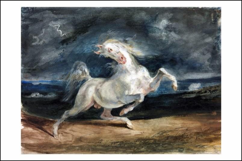 Poster affiche peinture eug ne delacroix cheval effray for Poster contemporain