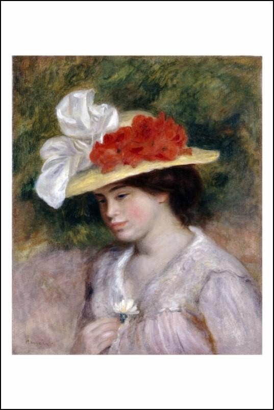 Poster affiche peinture renoir femme au chapeau fleuri - Poster peinture ...