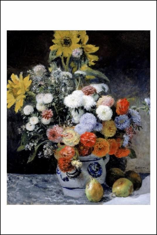 Poster affiche peinture renoir fleurs dans un pot de - Poster peinture ...