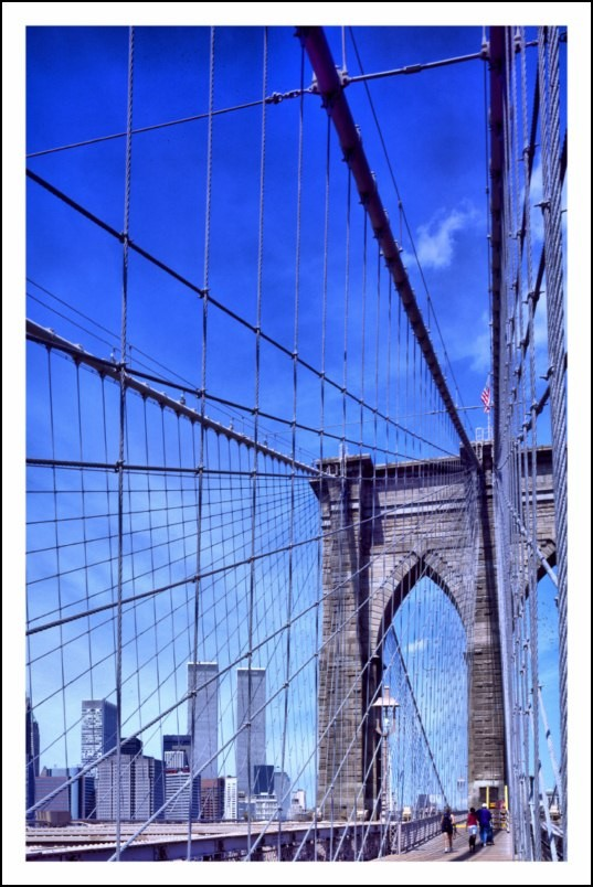 poster affiche photo brooklyn bridge et twin towers new york neuf ebay. Black Bedroom Furniture Sets. Home Design Ideas