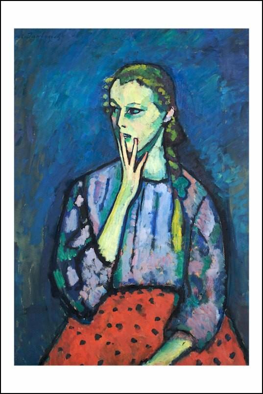 Poster affiche peinture jawlensky portrait d 39 une fille - Poster peinture ...