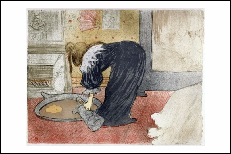 poster affiche dessin toulouse lautrec femme au tub 1896 neuf. Black Bedroom Furniture Sets. Home Design Ideas