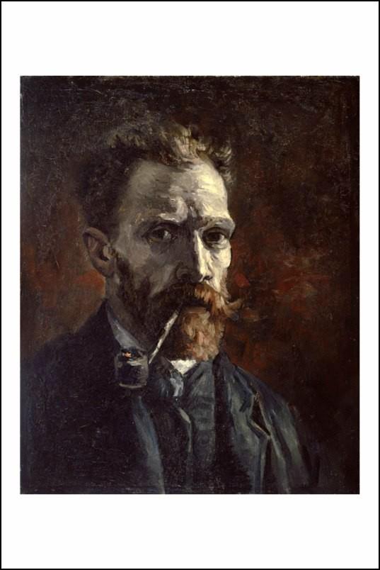 Poster affiche peinture van gogh autoportrait la pipe - Poster peinture ...