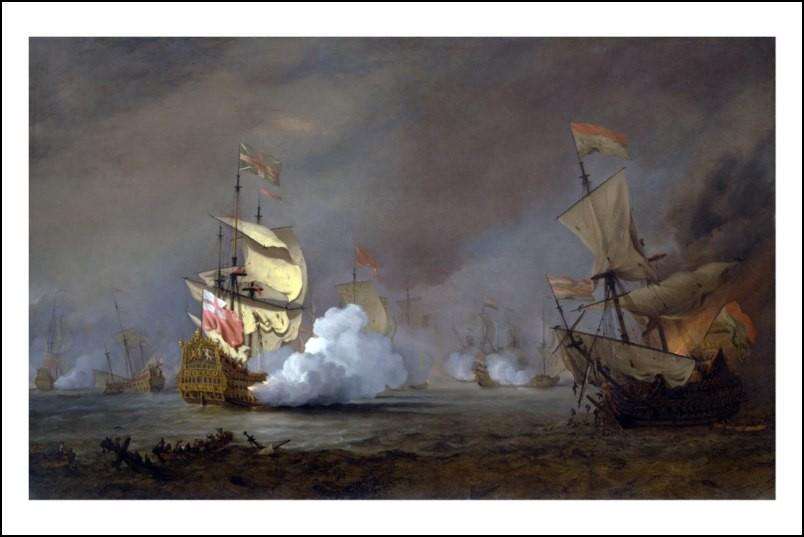 Poster affiche peinture bataille navale guerre anglo - Poster peinture ...