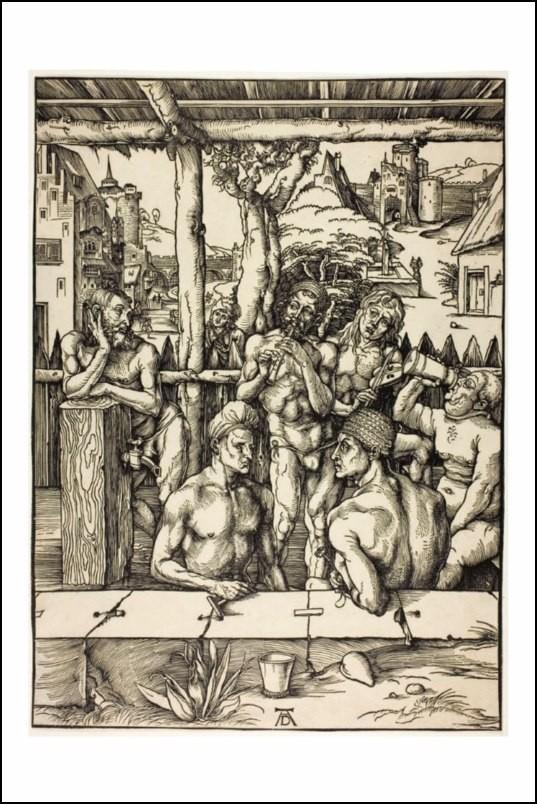 Poster affiche albrecht d rer gravure hommes aux bains for Posters art contemporain