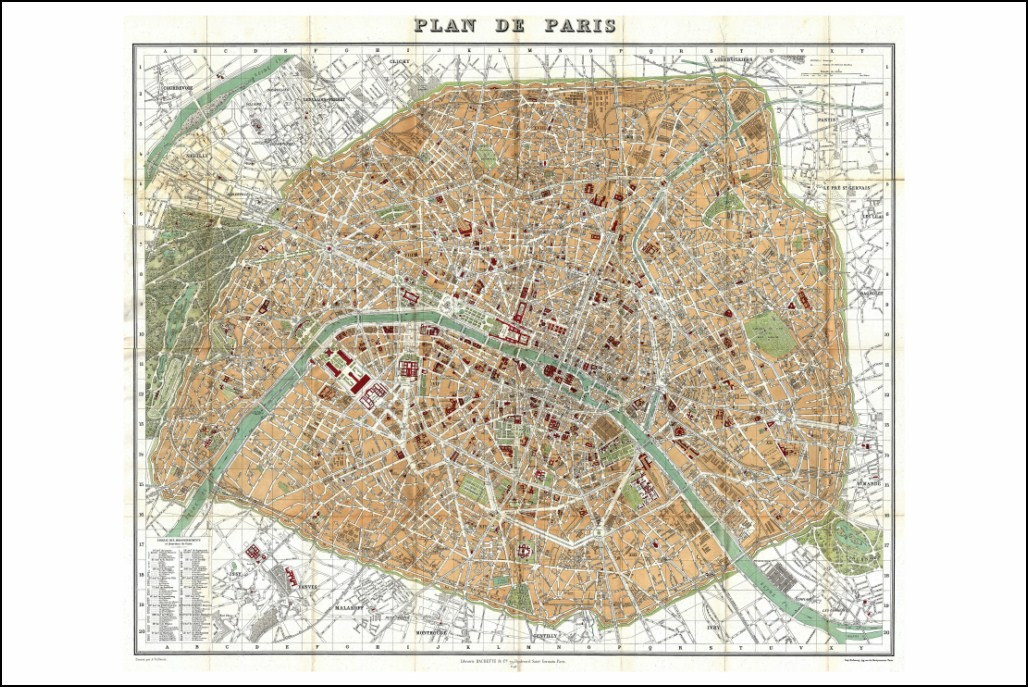 poster affiche reproduction plan de paris en 1892 neuf. Black Bedroom Furniture Sets. Home Design Ideas