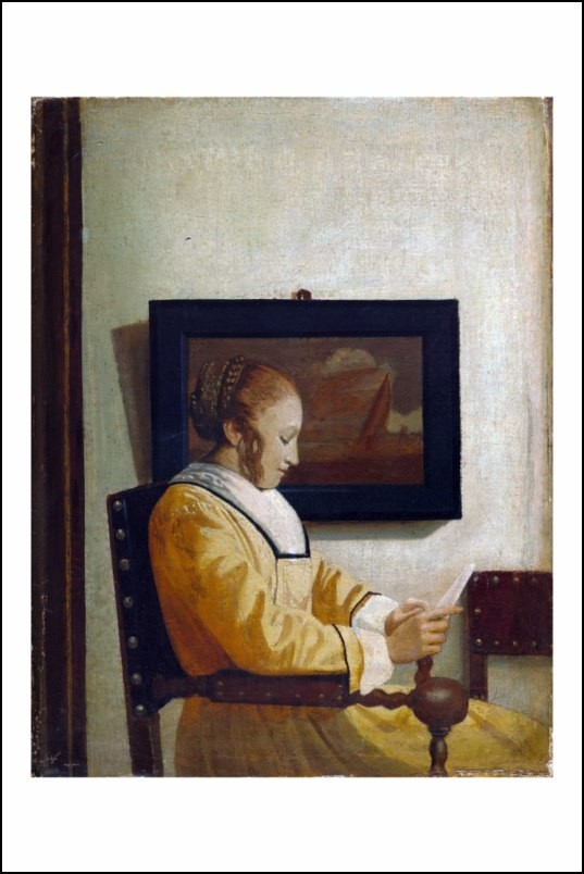 Poster affiche peinture style de vermeer jeune femme - Poster peinture ...